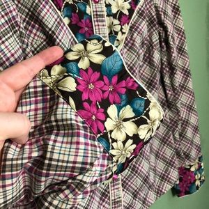 Rodeo Diva Tops - Floral Plaid Western Riding Shirt Size Small